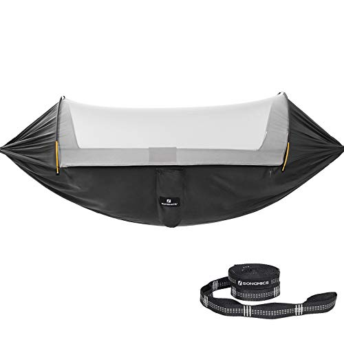 SONGMICS Hammock with Mosquito Net, Portable Double Hammock, Ripstop Nylon, Quick Dry, Multi-Loop Straps, Max. Load 300 kg, 275 x 140 cm, for Camping, Hiking, Black and Grey GDC17BG