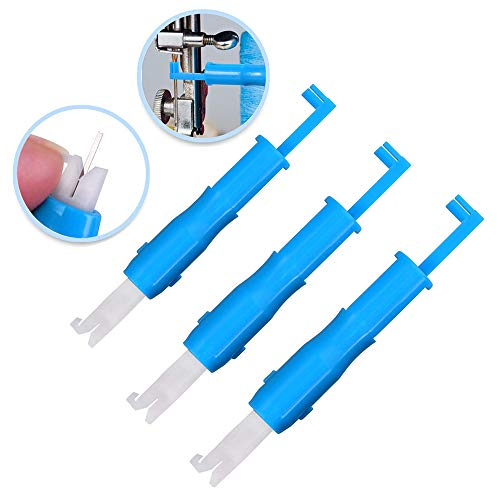 3Pcs Machine Needle Inserter and Threader, Little Threading Tools Compatible with Sewing Machine, Color Blue