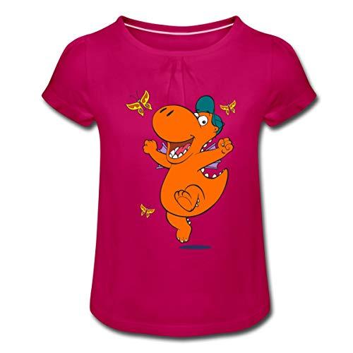 Der Kleine Drache Kokosnuss Tanzt Mädchen T-Shirt mit Raffungen, 6 Jahre, Fuchsia