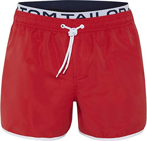 TOM TAILOR Herren Badeshorts Style \'Jonte\' - red-Poppy red - Größe 3XL