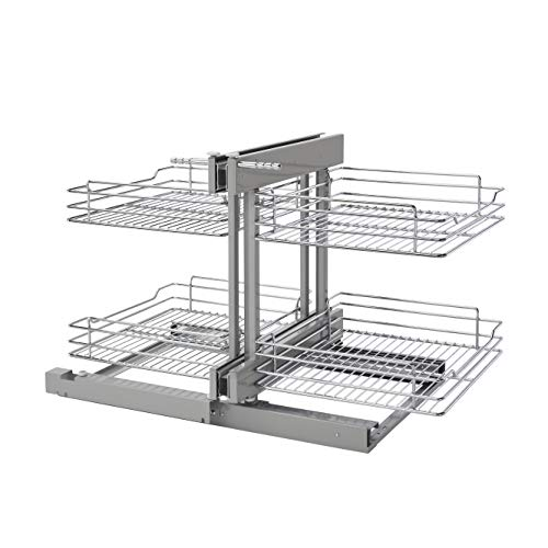 Rev-A-Shelf 5PSP-18SC-CR 18-Inch Chrome Soft Close Blind Corner 4 Shelf Slide Out Kitchen Cabinet Organizer, Silver