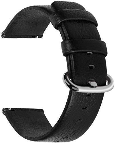 Fullmosa Uli Piel Correa Reloj, 12 Colores para Correa/Banda/Pulsera/Strap Reloj Huawei/Samsung/Recambio/Reemplazo 18mm 20mm 22mm 24mm, Negro 18mm