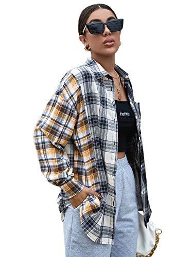SweatyRocks Women's Casual Long Sleeve Button Down Plaid Blouse Boyfriend Overshirt Multi Plaid XL