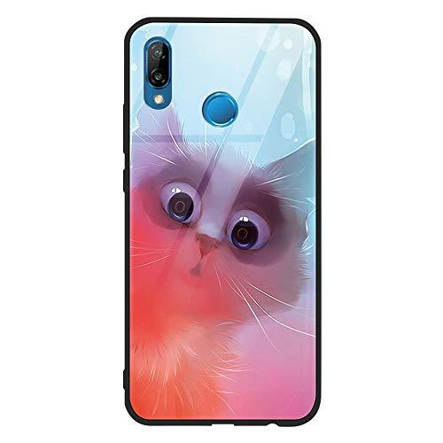 Yoedge Huawei P20 Lite Cover, [Ultra Sottile] Antiurto con Modello Disegni Custodia in Vetro Temperato [Morbido TPU Bordo in Silicone] Bumper Case Protettiva per Huawei P20 Lite, Gatto Carino