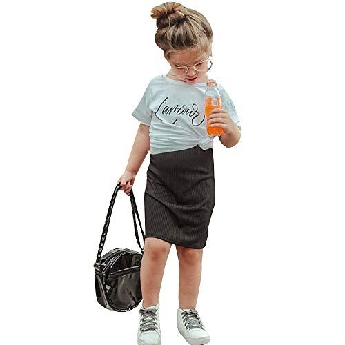 KMBANGI Kids Toddler Baby Girls Solid Knitted Modest Pencil Skirt Knee Length (Black, 18-24 Months)