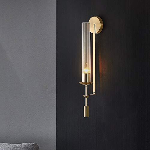 LITFAD Tubular Clear Glass Wall Lighting Modernism 1 Bulb Gold Sconce Lamp Fixture Creative LED Wall Lamp for Bathroom Bedroom Staircase Corridor Hotel