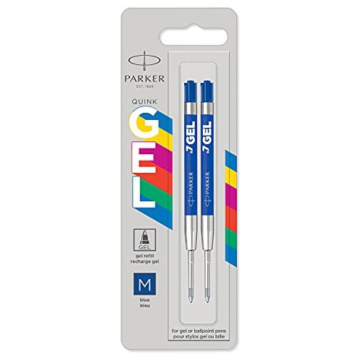 Parker Jotter Originals recambios de tinta de gel | Recambios de tinta de gel azul | punta mediana (0,7mm) | 2 unidades