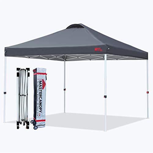 MASTERCANOPY Pop-up Canopy Tent Commercial Instant Canopy with Wheeled Bag,Canopy Sandbags x4,Tent Stakesx4 (12x12, Dark Grey)