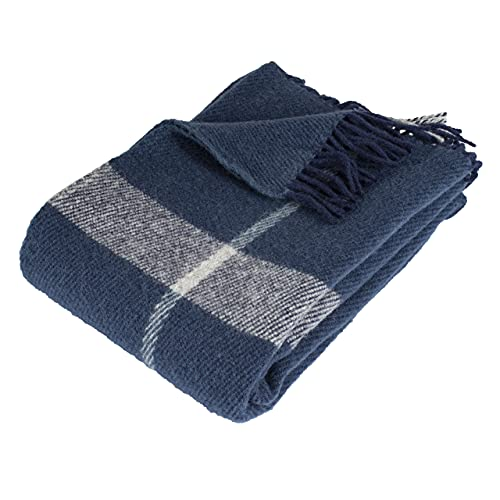 Arctic Steinbeck Toke - Manta de lana (100% lana virgen, 130 x 200 cm), color azul