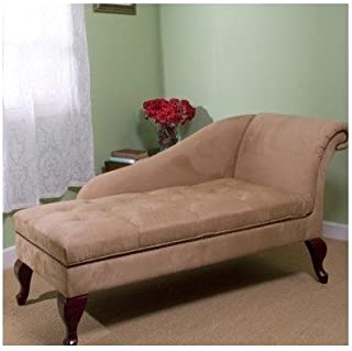 Chaise Chair Lounge Sofa with Storage for Living Room or Bedroom Beige Tan