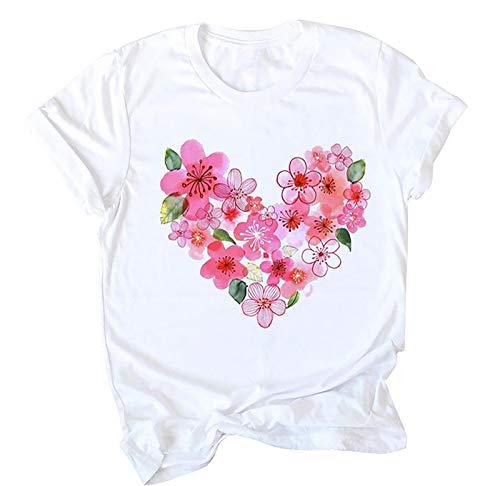 WELCO - Camiseta de manga corta para mujer, diseo de corazn Rose Vif11 M