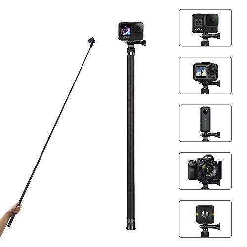 AuyKoo Super Largo Palo Selfie Stick para Gopro Hero 9 8 7 6 5 Black, Palo Selfie Monopie Extensible de Fibra de Carbonopara GoPro 9 8 7 6 5 4 3, Fusion, Session, dji OSMO Cámaras de Acción