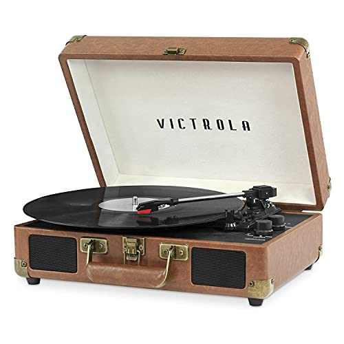 Victrola Vintage 3-Speed Bluetooth Portable Suitcase Record Player with Built-in Speakers   Upgraded Turntable Audio Sound  Includes Extra Stylus   Brown