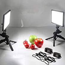 Viltrox 2 Sets Photography LED Video Light Lamp with Bi-Color 3300K-5600K, HD LCD Display Screen,CRI 95 for DSLR Table Photo Studio with Tripods