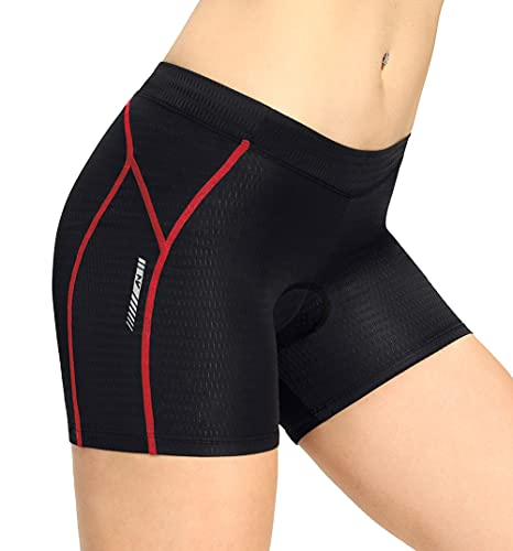 aquota Pantaloncini Ciclismo Donna, 4D in Gel Vita Alta Imbottiti per Palestra Equitazione MTB Bici Traspiranti Antiurto Mutande