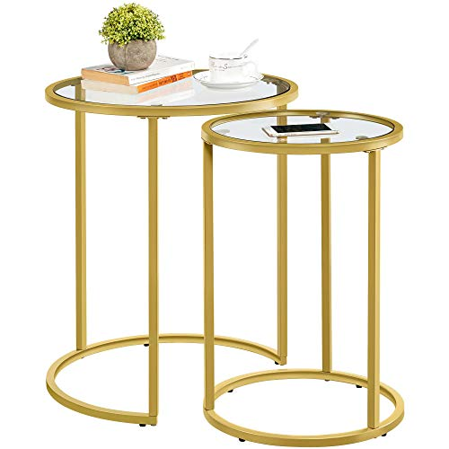 YAHEETECH Round Nesting Side Table Stacking End Coffee Table, Set of 2 Circular Modern End Tables w/Metal Frame & Tempered Glass Top & Protective Foot Pads for Small Space Living Room Bedroom Office