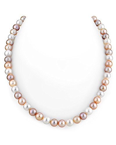 "THE PEARL SOURCE 6.5-7.0mm AAA Quality Multicolor Freshwater Cultured Pearl Necklace for Women in 18"" Princess Length"
