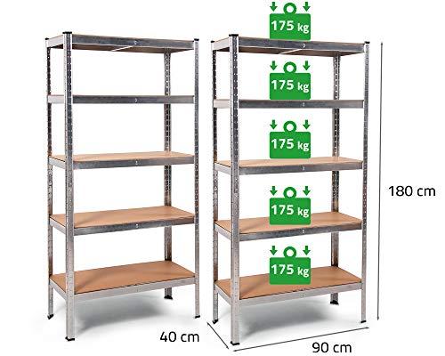 2x Ondis24 Metallregal Thomas, Lagerregal 90 x 40 x 180 (H) cm, Kellerregal 875kg silber, Steckregal mit 5 Fachböden höhenverstellbar, Werkstattregal 5x 175kg belastbar, Schwerlastregal - Doppelpack!