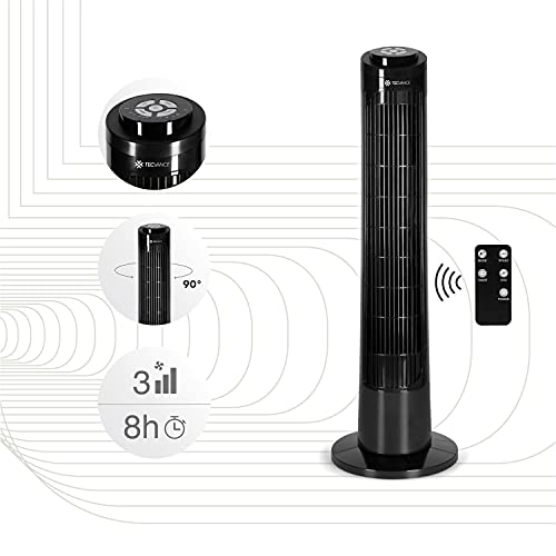 Tecvance Version 2021- Ventilateur Colonne silencieux avec Télécommande et Minuterie - 3 Vitesses - Oscillation - Hauteur 76 cm - Noir/Blanc