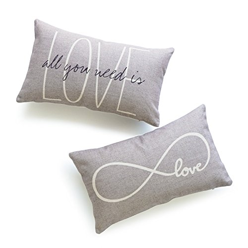 Hofdeco - Juego de 2 fundas de almohada decorativas para lumbar, algodón pesado, lino y texto en inglés «His and Her Gray Love is All You Need Infinite Love», 30 x 50 cm, diseño de amor infinito