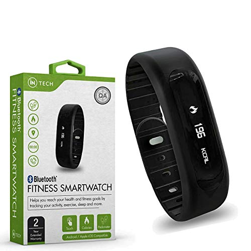 Bluetooth Smart Fitness Watch Bracelet Wristband Monitors Health, Pedometer, Calories Burned, Distance, Sleep, Touch Screen Display, Compatible Pairing with iOs and Android 2 Year Warranty