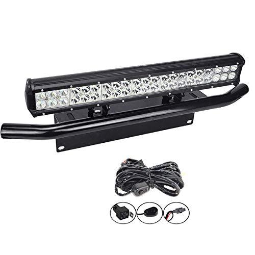 SKYWORLD Barra de luz LED, 20 pulgadas 50.8 cm 126W Spot Flood Combo Beam Trabajo con lámpara de conducción con placa de matrícula negra Juego de arnés de cableado para camión Coche atv 4X4 Camión