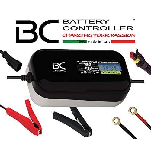 BC Battery Controller BC 3500 EVO, Caricabatteria e Mantenitore Digitale/LCD, Tester di Batteria e Alternatore per tutte le batterie Auto e Moto 12V Piombo-Acido, 3.5A/1A