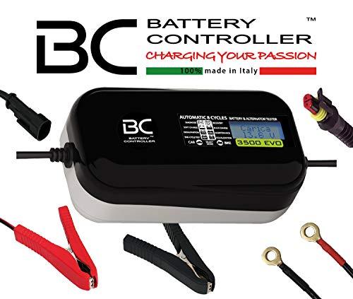 BC Battery Controller BC 3500 EVO, Cargador de baterías y Mantenedor Digital/LCD, Comprobador de Batería y Alternador para todas las Baterías de Coche y Moto 12V de Plomo-Ácido, 3.5A/1A