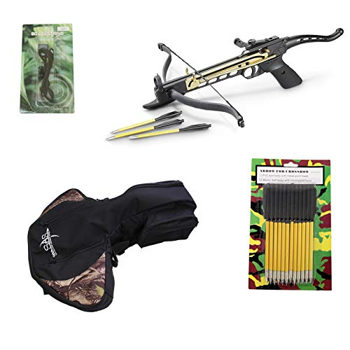 Wizard Archery 80 lbs Self-Cocking Pistol Crossbow (Black w/Crossbow Bag, 15 Bolts and Extra String)