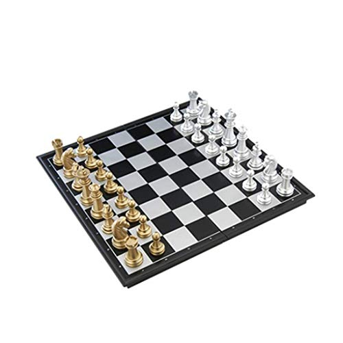 RTYUI Classic Chess Set Gold and Silver Magnetic Chess, Foldable Board, Development Intellectual Chess and Card Games, Toy Chess Travel International Chess Board Games Set (Size : Medium)