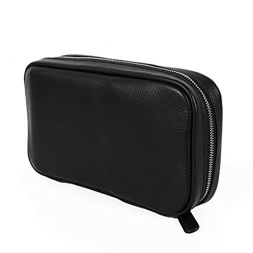 Black Luxury Cigar Bag, Portable Genuine Leather Cigar Case Humidor Bag Exquisite Cigar Holder for Lighters Cigars Travel, Hold 5 Tubes 160 mm Cigar
