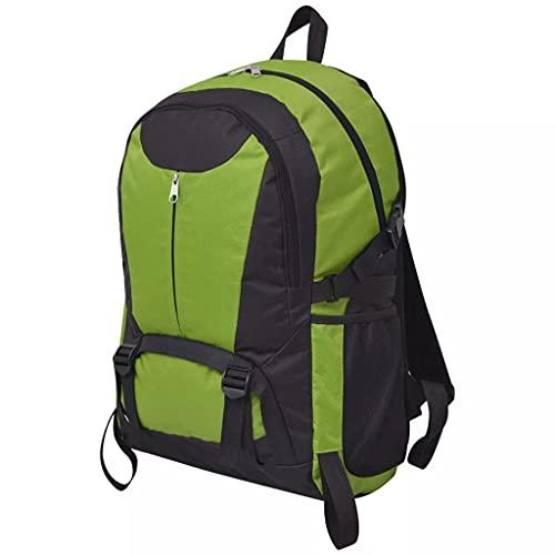vidaXL Zaino Borsa Borsone da Trekking Campeggio Tracolla 40 L Nero e Verde