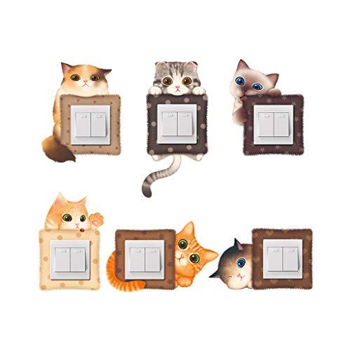 QLTY Moderne Einfachheit Lichtschaltersticker(6 Stück/Set),Netter Katzenmusteraufkleber,steckdosen Sticker,Geeignet für Wohnzimmer/Esszimmer/Kinderzimmer Dekoration