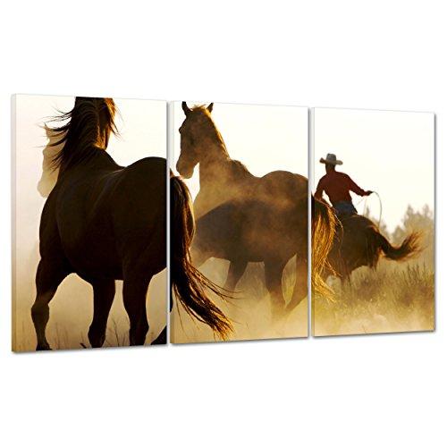 Bild auf Leinwand Canvas–Gerahmt–fertig zum Aufhängen–Cowboy–Wildpferde im Galopp 100x50cm