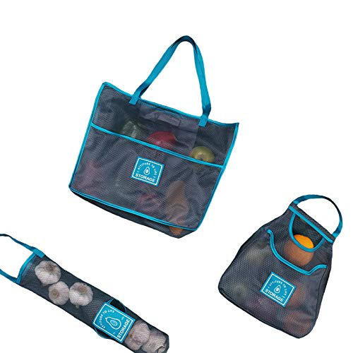 GREENSUGAR Green Sugar 4 piezas de tela de malla bolsa de compra para patatas y cebollas bolsa de alimentos lavable (Azul)