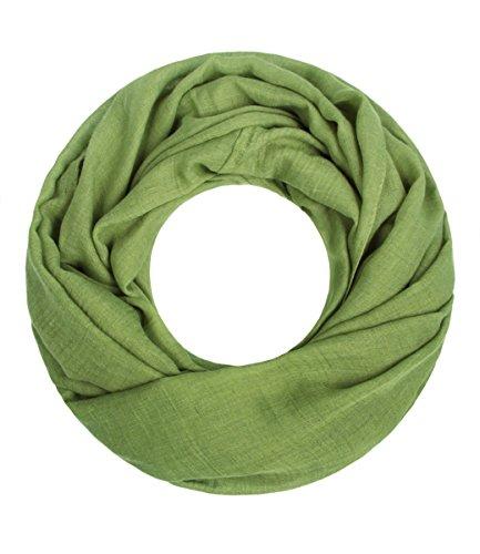 Majea Loop Cary Basic Schal Tuch Damen-schal Schlauchschal Rundschal Halstücher uni unifarben Loopschal einfarbig (grün 1)