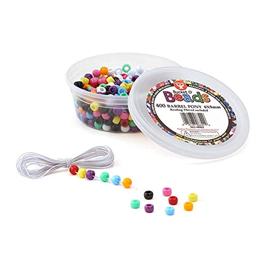Hygloss Products Bucket O'Beads with Thread - 400 Barrel Pony, 6x9 mm (6822)