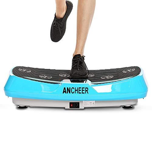 ANCHEER 4D Fitness Vibrationsplatte mit Zwei Motoren, Profi Ganzkörper Training Vibrationsboard Shaper mit Mehrere Geschwindigkeiten & Modi, Trainingsbänder, Fernbedienung (Blue)