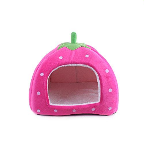 Ecloud Shop® - Tappetino per cuccioli di fragola, in peluche, morbido, per animali domestici, gatto, lettino, pieghevole, taglia S