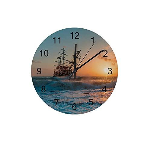 Reloj de Pared de Madera silencioso sin ticipo navegando Marea Puesta de Sol con batería decoración Enamorada de la Oficina de la Oficina de la Oficina de la Oficina
