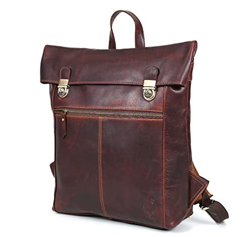Corno d´Oro BP185 - Zaino in pelle anti furto, per uomo e donna, stile vintage, fino a 15 l, per laptop da 15,6 pollici, colore: Marrone