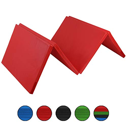 ALPIDEX Klappbare Gymnastikmatte Turnmatte für zuhause 300 x 120 x 5 cm für Kinder und Erwachsene - mit Klettecken, 3fach klappbar, Farbe:rot