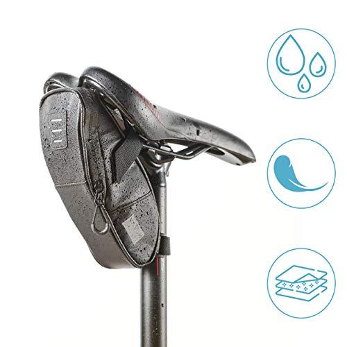 Vatum Bikes wasserdichte Fahrradtasche mit Platz für Rücklicht & Zubehör - Kleine und kompakte Satteltasche für Fahrrad - Ideal für Fahrradzubehör & Werkzeug