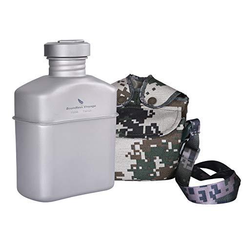 Boundless Voyage Titanio Cantina Militar con Bolsa de Transporte Camping al aire libre Gran Capacidad Botella de Agua Taza Pot Mess Kit 1100ml Ti15158A