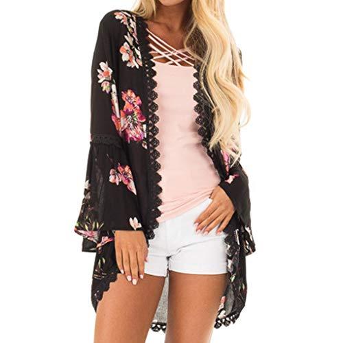 MRULIC Damen Florale Kimono Cardigan Boho Chiffon Sommerkleid Beach Cover up Leicht Tuch für die Sommermonate am Strand oder See (S, Y-Schwarz)