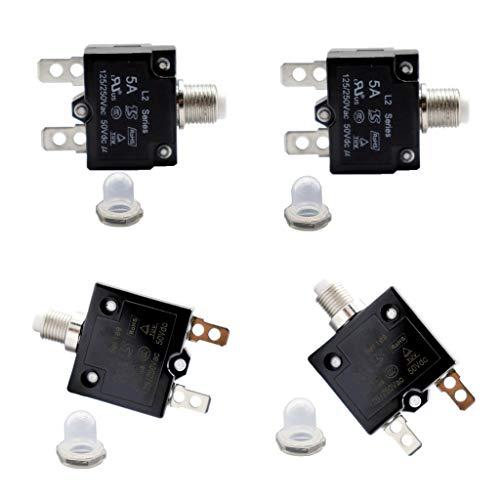 Toygogo 4X Interruptor de Protección de Sobrecarga Fusible Rearmable 125/250 Voltios