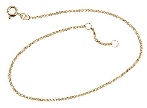 Silberketten-Store Cavigliera Vellutato–1,5mm larghezza–Lunghezza waehlbar 23–30cm–in 333Oro e oro, cod. 1235