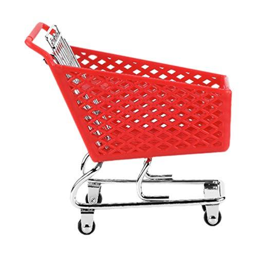 DOITOOL Mini Plastic Shopping Cart Small Shopping Utility Cart Mode Desk Storage Holder Mini Supermarket Handcart for Home Room Desk Accessory Random Color