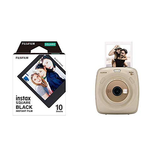 Fujifilm Instax SQUARE SQ 20 Hybride Sofortbildkamera, beige &  Instax Square Frame WW1 Colorfilm schwarz