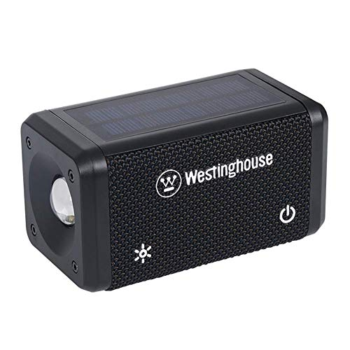 Westinghouse Solar Bluetooth Speaker with LED Flashlight for Emergency, Portable Wireless Solar Bluetooth Stereo Audio IPX5 Water Resistant 1000mAh USB Rechargeable Speaker for Outdoor Indoor (1 Pack)